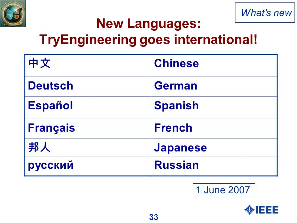 33 New Languages: TryEngineering goes international.