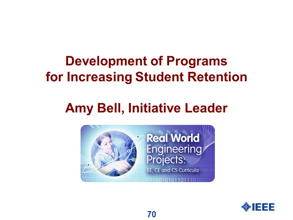 70 Development of Programs for Increasing Student Retention Amy Bell, Initiative Leader