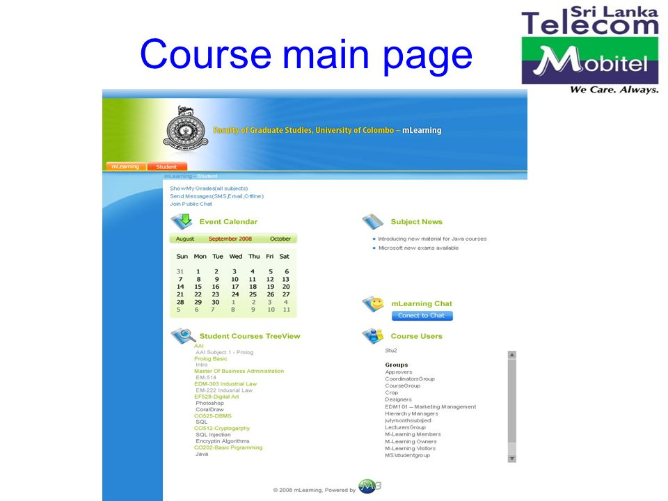 19 Course main page