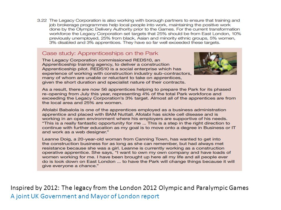 Inspired by 2012: The legacy from the London 2012 Olympic and Paralympic Games A joint UK Government and Mayor of London report
