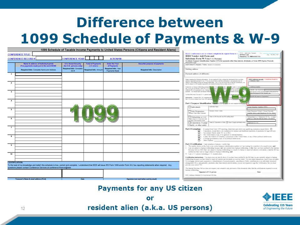Payments for any US citizen or resident alien (a.k.a. US persons) 12 Difference between 1099 Schedule of Payments & W-9