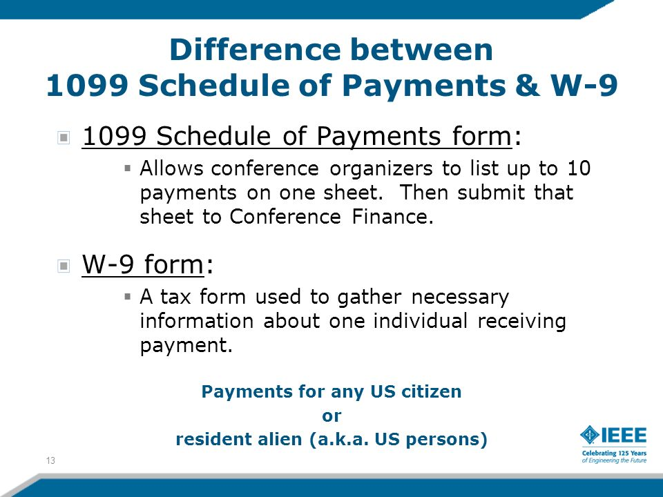 1099 Schedule of Payments form: Allows conference organizers to list up to 10 payments on one sheet. Then submit that sheet to Conference Finance. W-9