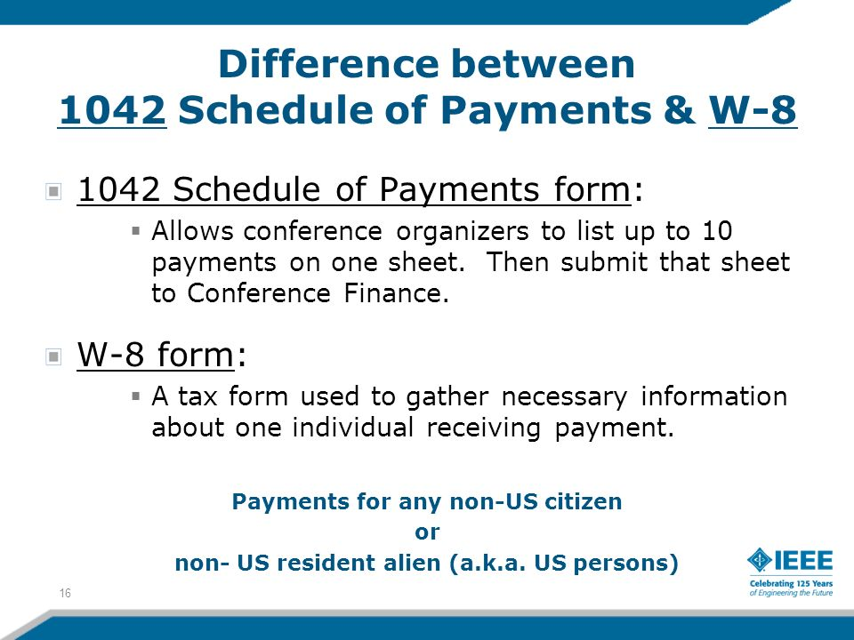 1042 Schedule of Payments form: Allows conference organizers to list up to 10 payments on one sheet. Then submit that sheet to Conference Finance. W-8