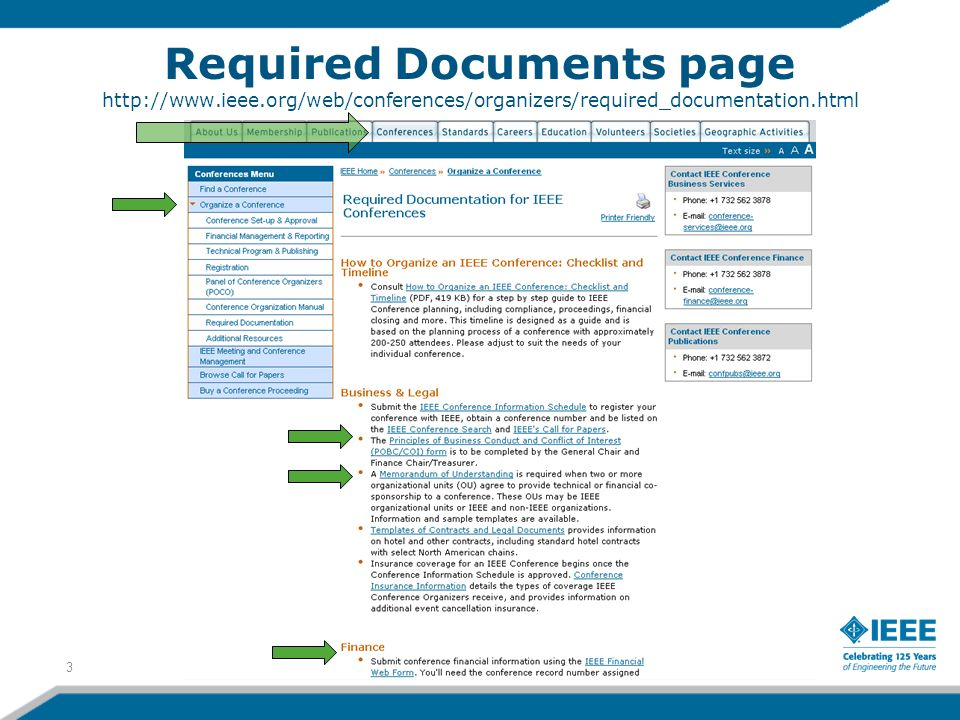 Required Documents page http://www.ieee.org/web/conferences/organizers/required_documentation.html 3