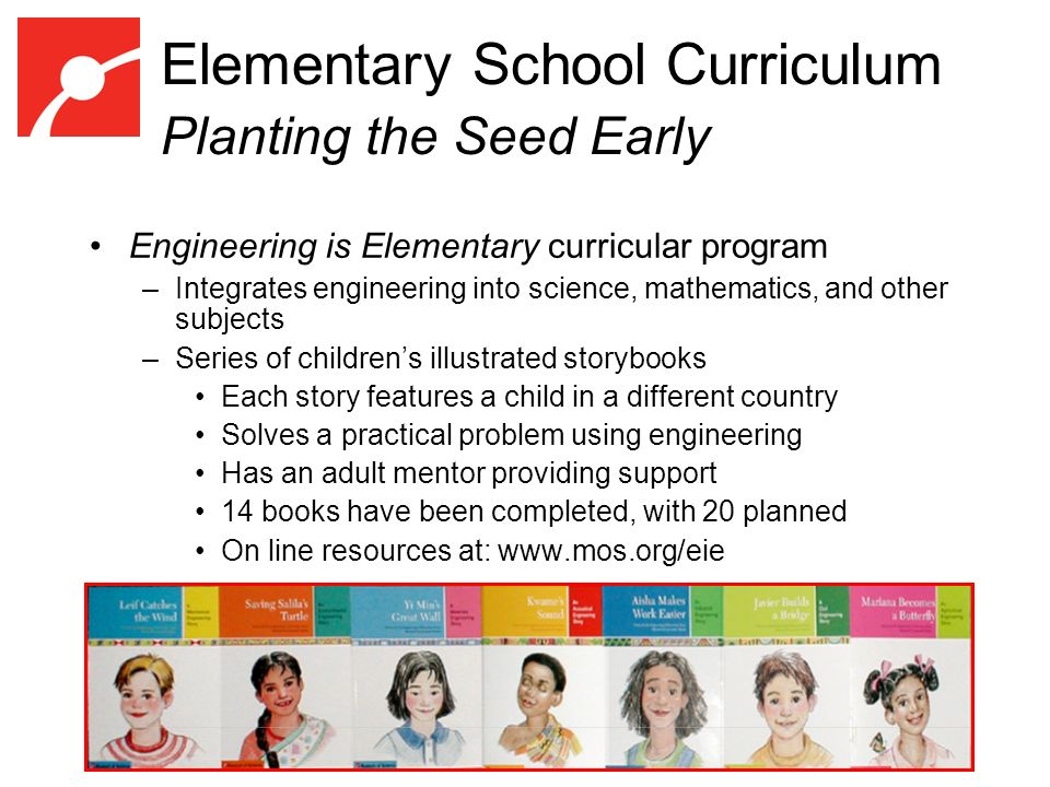 Elementary School Curriculum Planting the Seed Early Engineering is Elementary curricular program –Integrates engineering into science, mathematics, and other subjects –Series of childrens illustrated storybooks Each story features a child in a different country Solves a practical problem using engineering Has an adult mentor providing support 14 books have been completed, with 20 planned On line resources at: www.mos.org/eie
