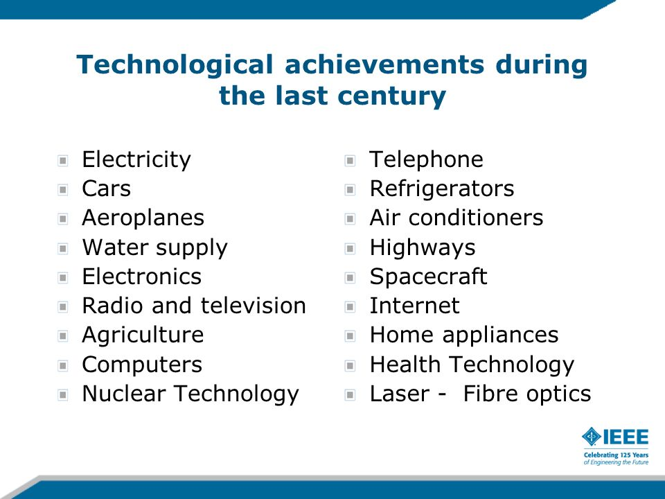 Technological achievements during the last century Electricity Cars Aeroplanes Water supply Electronics Radio and television Agriculture Computers Nuc