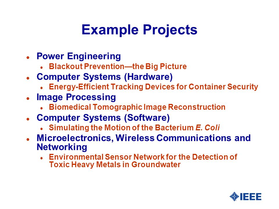 Example Projects l Power Engineering l Blackout Preventionthe Big Picture l Computer Systems (Hardware) l Energy-Efficient Tracking Devices for Container Security l Image Processing l Biomedical Tomographic Image Reconstruction l Computer Systems (Software) l Simulating the Motion of the Bacterium E.