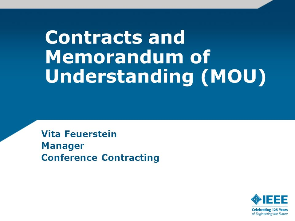 Contracts and Memorandum of Understanding (MOU) Vita Feuerstein Manager Conference Contracting
