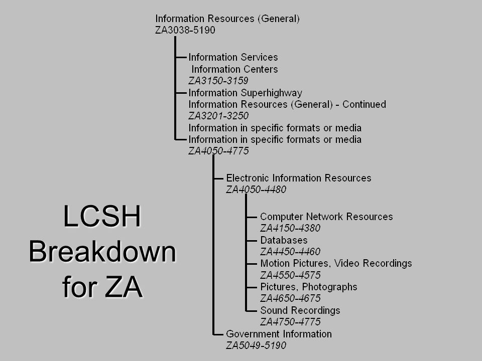 LCSH Breakdown for ZA