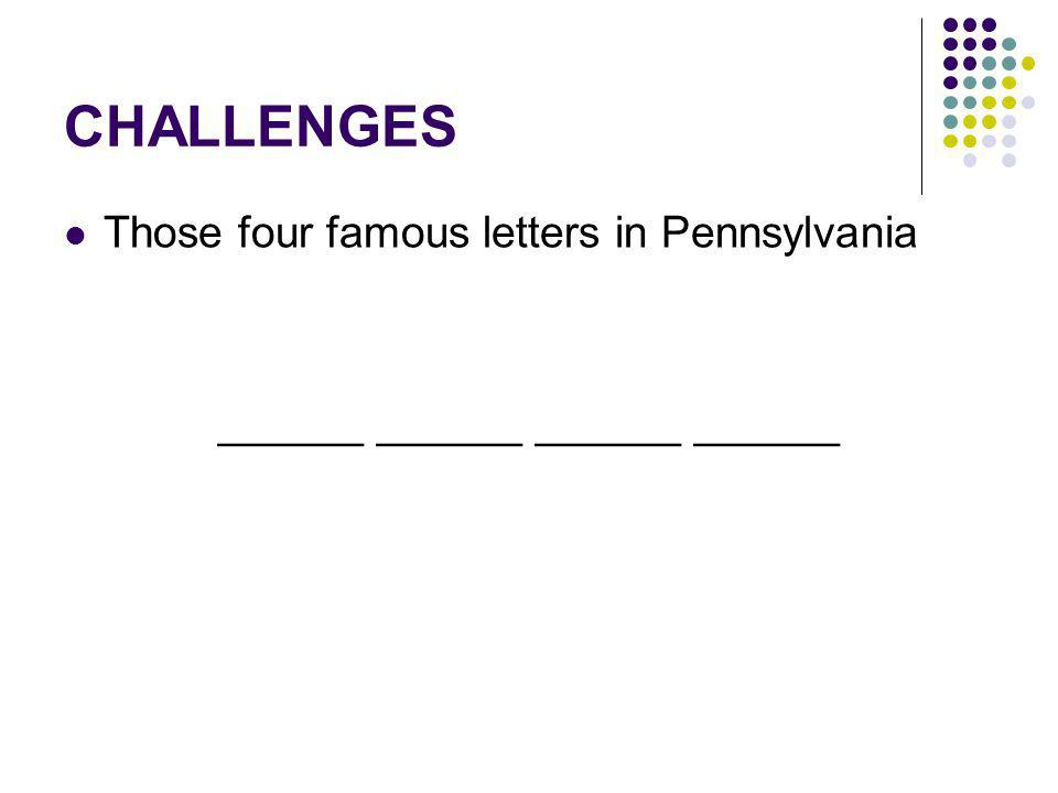 CHALLENGES Those four famous letters in Pennsylvania ______ ______