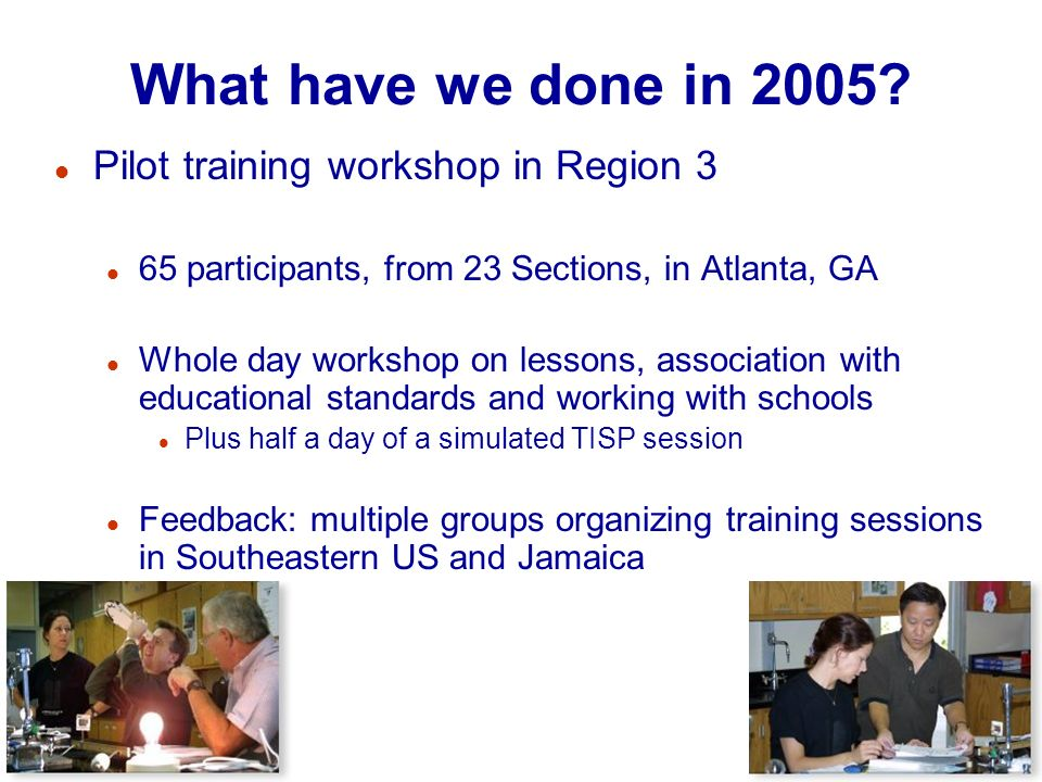 19 What have we done in 2005? l Pilot training workshop in Region 3 l 65 participants, from 23 Sections, in Atlanta, GA l Whole day workshop on lesson