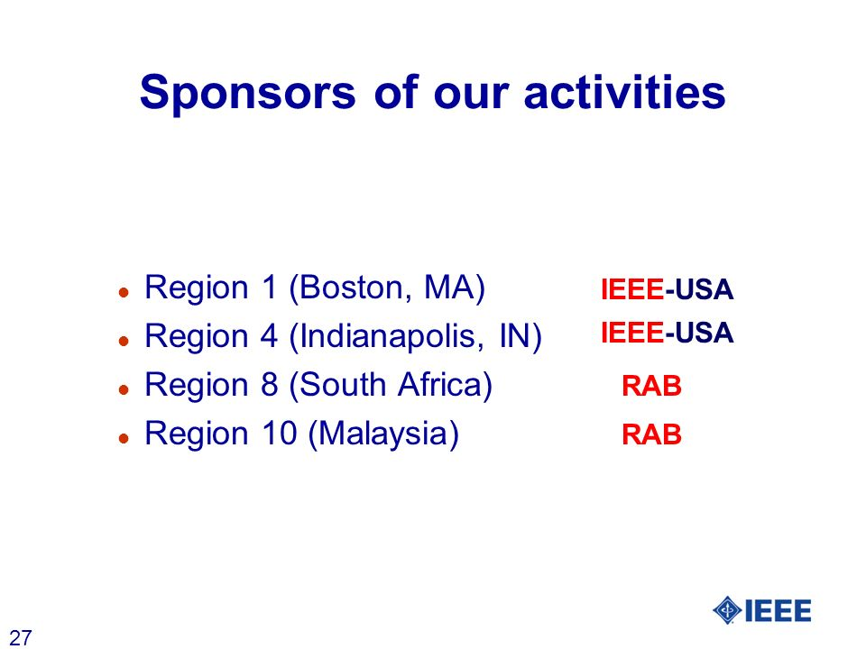 27 Sponsors of our activities l Region 1 (Boston, MA) l Region 4 (Indianapolis, IN) l Region 8 (South Africa) RAB l Region 10 (Malaysia) RAB IEEE-USA