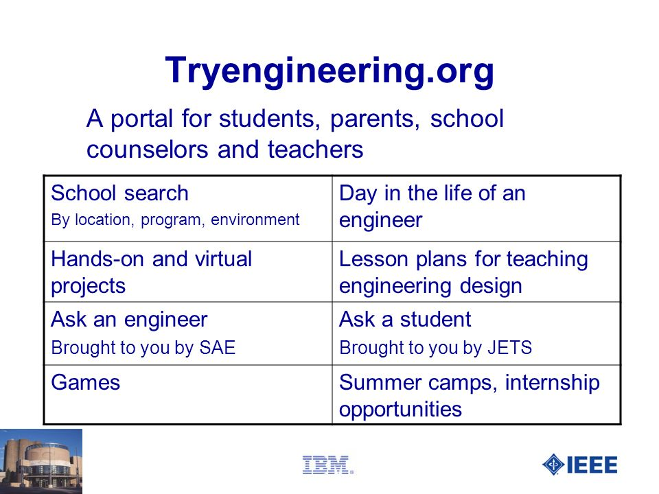 41 Tryengineering.org A portal for students, parents, school counselors and teachers School search By location, program, environment Day in the life o