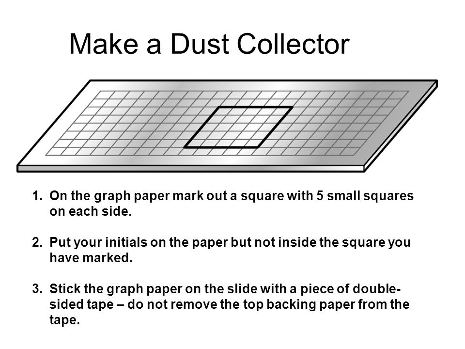 Make a Dust Collector 1.On the graph paper mark out a square with 5 small squares on each side. 2.Put your initials on the paper but not inside the sq