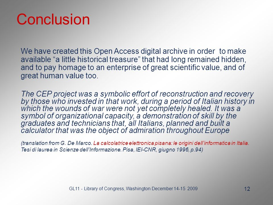 GL11 - Library of Congress, Washington December We have created this Open Access digital archive in order to make available a little historical treasure that had long remained hidden, and to pay homage to an enterprise of great scientific value, and of great human value too.