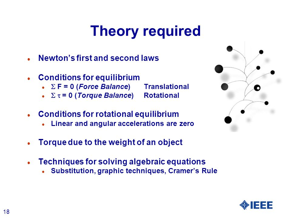 18 Theory required l Newtons first and second laws l Conditions for equilibrium F = 0 (Force Balance)Translational = 0 (Torque Balance)Rotational l Co