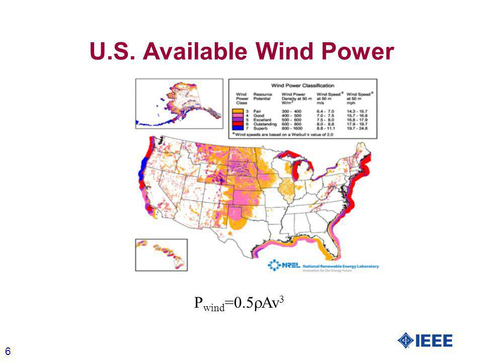 6 U.S. Available Wind Power P wind =0.5 Av 3