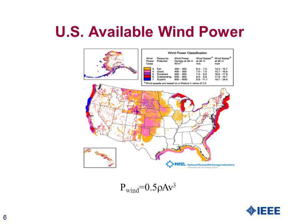 6 U.S. Available Wind Power P wind =0.5 Av 3