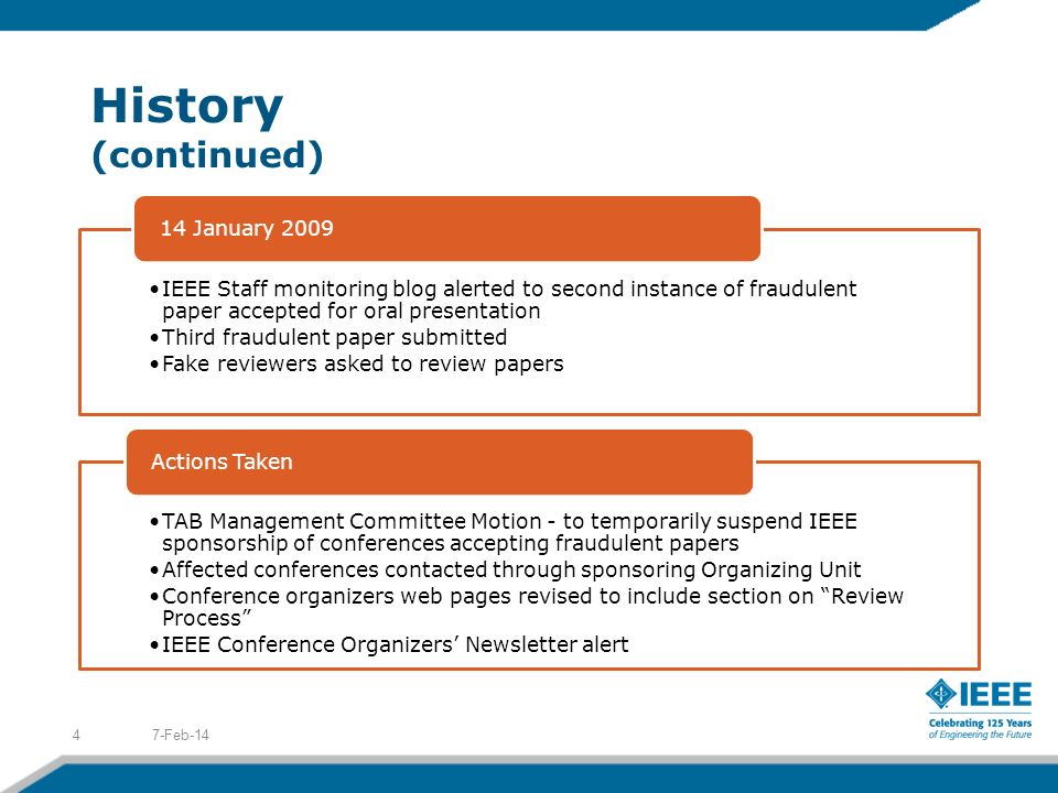 History (continued) IEEE Staff monitoring blog alerted to second instance of fraudulent paper accepted for oral presentation Third fraudulent paper submitted Fake reviewers asked to review papers 14 January 2009 TAB Management Committee Motion - to temporarily suspend IEEE sponsorship of conferences accepting fraudulent papers Affected conferences contacted through sponsoring Organizing Unit Conference organizers web pages revised to include section on Review Process IEEE Conference Organizers Newsletter alert Actions Taken 7-Feb-144