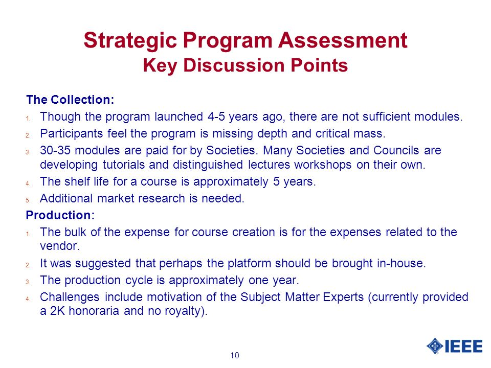 10 Strategic Program Assessment Key Discussion Points The Collection: 1.