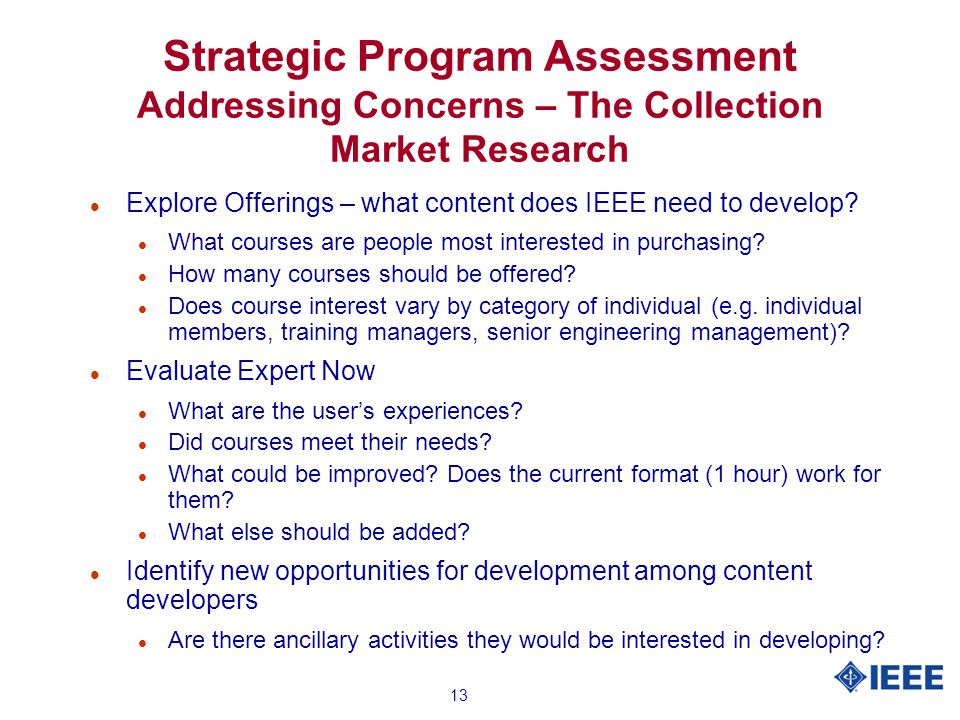 13 Strategic Program Assessment Addressing Concerns – The Collection Market Research l Explore Offerings – what content does IEEE need to develop.