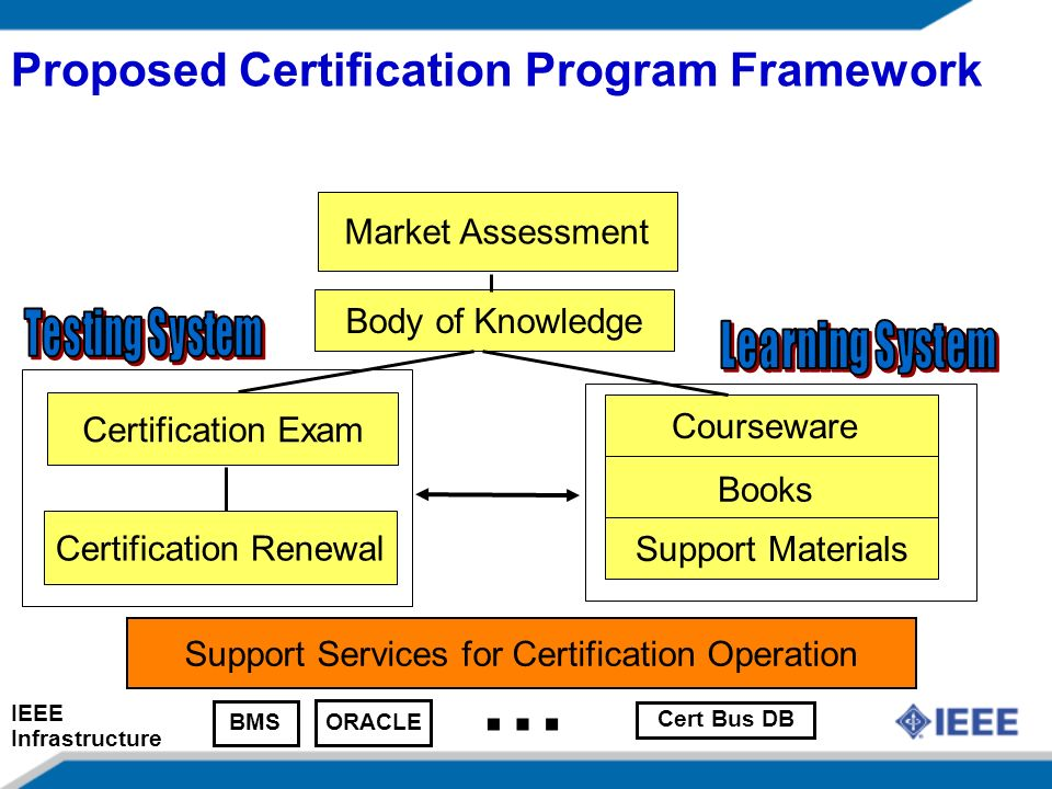 Proposed Certification Program Framework Market Assessment Body of Knowledge Certification Exam Courseware Certification Renewal Books Support Materials Support Services for Certification Operation BMS ORACLE Cert Bus DB … IEEE Infrastructure