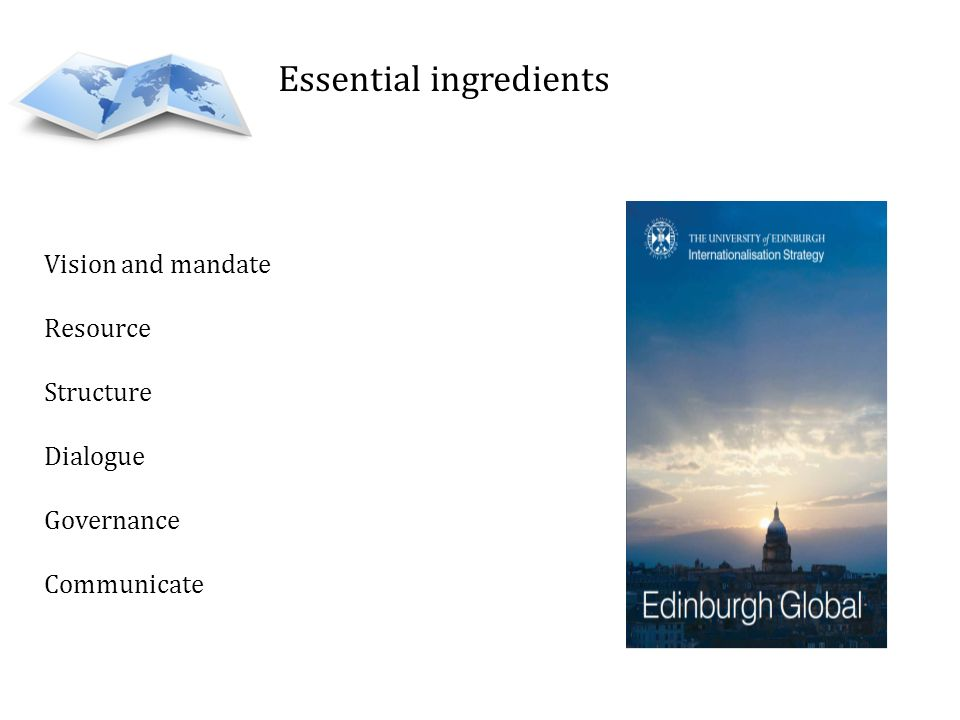 Essential ingredients Vision and mandate Resource Structure Dialogue Governance Communicate
