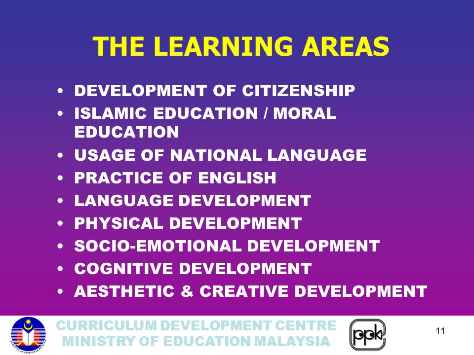 CURRICULUM DEVELOPMENT CENTRE MINISTRY OF EDUCATION MALAYSIA 11 THE LEARNING AREAS DEVELOPMENT OF CITIZENSHIP ISLAMIC EDUCATION / MORAL EDUCATION USAGE OF NATIONAL LANGUAGE PRACTICE OF ENGLISH LANGUAGE DEVELOPMENT PHYSICAL DEVELOPMENT SOCIO-EMOTIONAL DEVELOPMENT COGNITIVE DEVELOPMENT AESTHETIC & CREATIVE DEVELOPMENT
