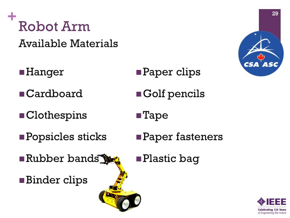 + Robot Arm Hanger Cardboard Clothespins Popsicles sticks Rubber bands Binder clips Paper clips Golf pencils Tape Paper fasteners Plastic bag Available Materials 29