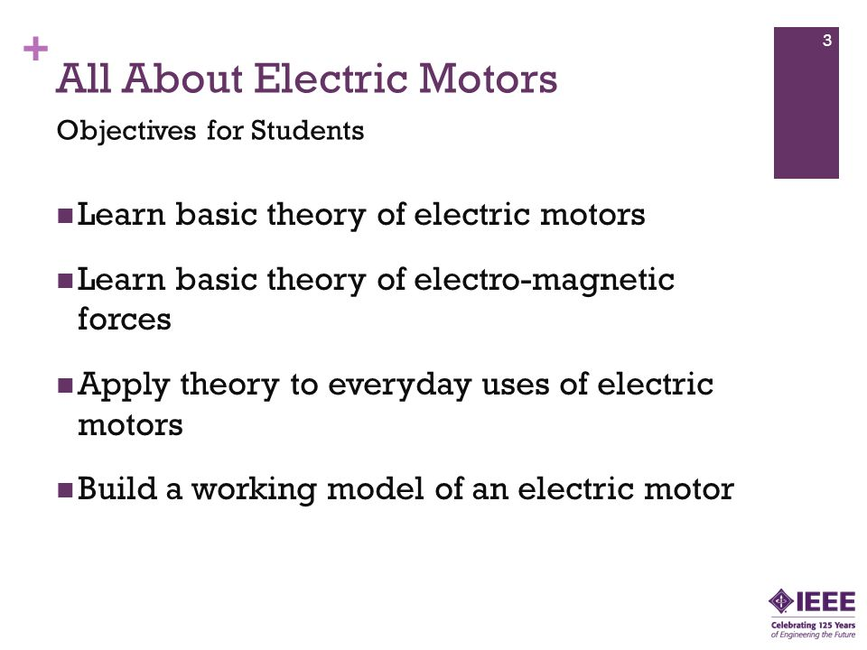+ All About Electric Motors Physical Science: Develop an understanding of motion and forces, transfer of energy Develop an understanding of the interactions between energy and matter Problem Solving: Develop an understanding of the role of troubleshooting, research and development, invention and innovation, and experimentation in problem solving Principles & Standards for School Mathematics – 1 4