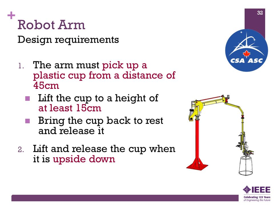 + Robot Arm 1. The arm must pick up a plastic cup from a distance of 45cm Lift the cup to a height of at least 15cm Bring the cup back to rest and rel