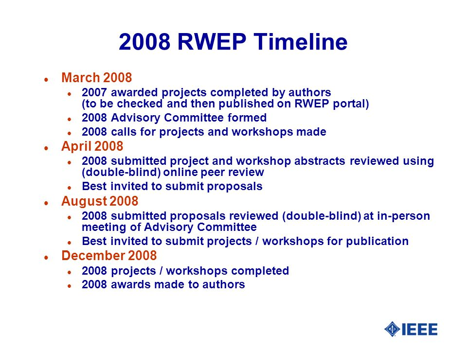 2008 RWEP Timeline l March 2008 l 2007 awarded projects completed by authors (to be checked and then published on RWEP portal) l 2008 Advisory Committee formed l 2008 calls for projects and workshops made l April 2008 l 2008 submitted project and workshop abstracts reviewed using (double-blind) online peer review l Best invited to submit proposals l August 2008 l 2008 submitted proposals reviewed (double-blind) at in-person meeting of Advisory Committee l Best invited to submit projects / workshops for publication l December 2008 l 2008 projects / workshops completed l 2008 awards made to authors