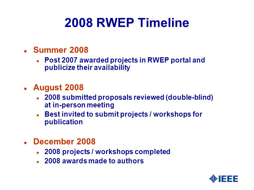 2008 RWEP Timeline l Summer 2008 l Post 2007 awarded projects in RWEP portal and publicize their availability l August 2008 l 2008 submitted proposals reviewed (double-blind) at in-person meeting l Best invited to submit projects / workshops for publication l December 2008 l 2008 projects / workshops completed l 2008 awards made to authors