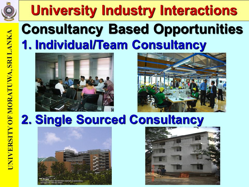 UNIVERSITY OF MORATUWA, SRI LANKA University Industry Interactions Consultancy Based Opportunities 1. Individual/Team Consultancy 2. Single Sourced Co