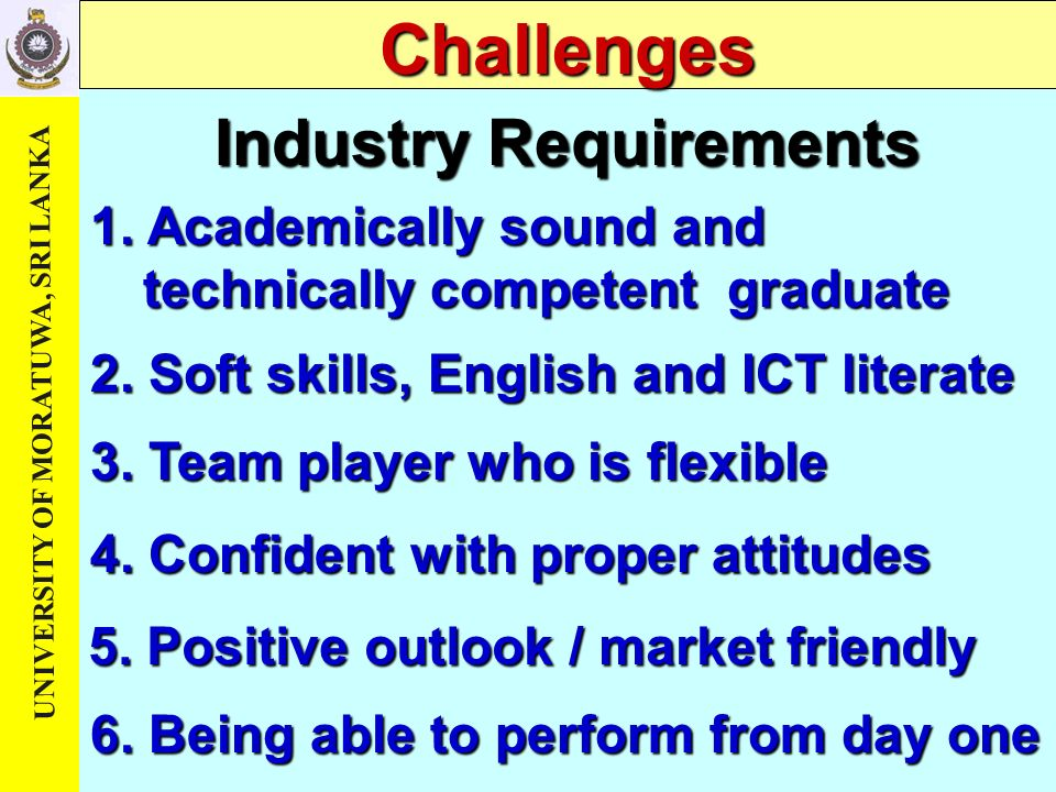 Industry Requirements 5. Positive outlook / market friendly 3.