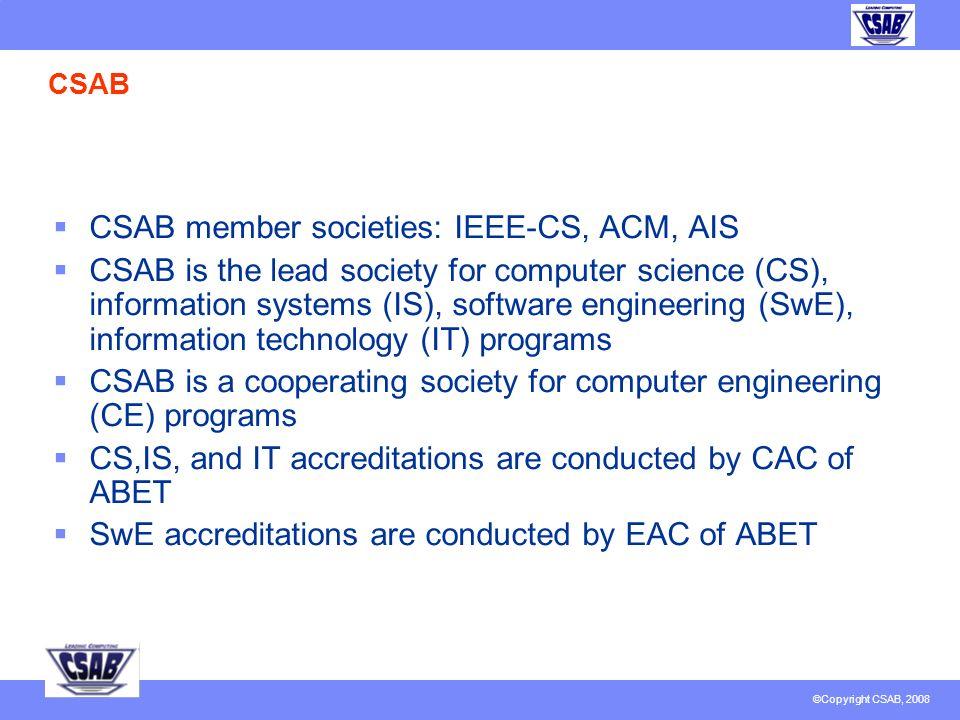 © Copyright CSAB 2007 CSAB, Inc. Report to IEEE EAB February 15, 2008 J. Fernando Naveda Member, CSAB BoD Vice-Chair, IEEE-CS EAB