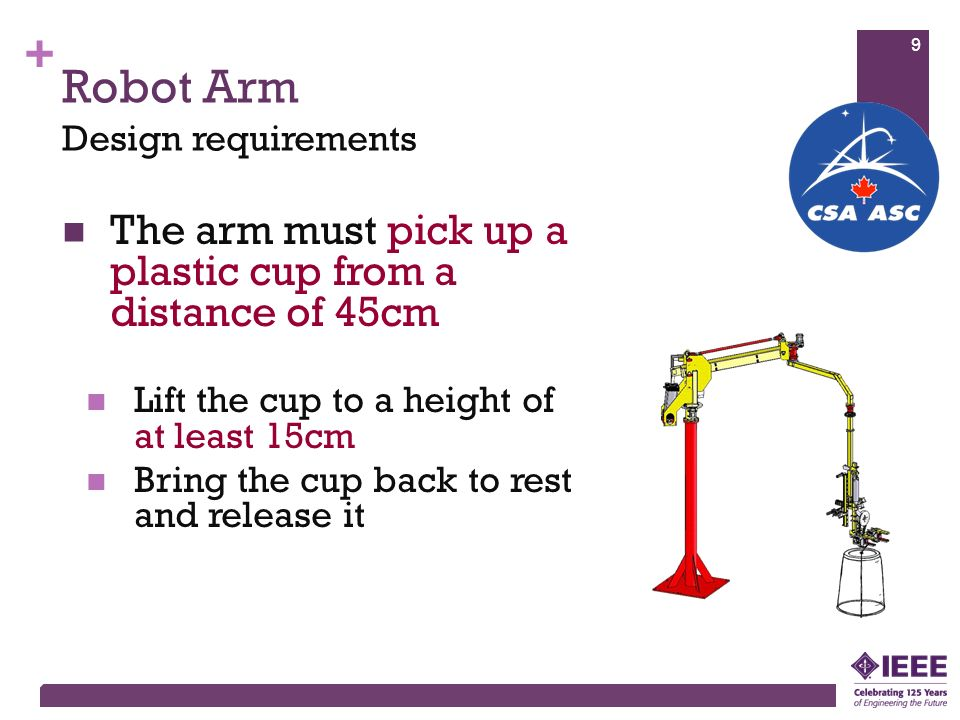 + Robot Arm The arm must pick up a plastic cup from a distance of 45cm Lift the cup to a height of at least 15cm Bring the cup back to rest and releas
