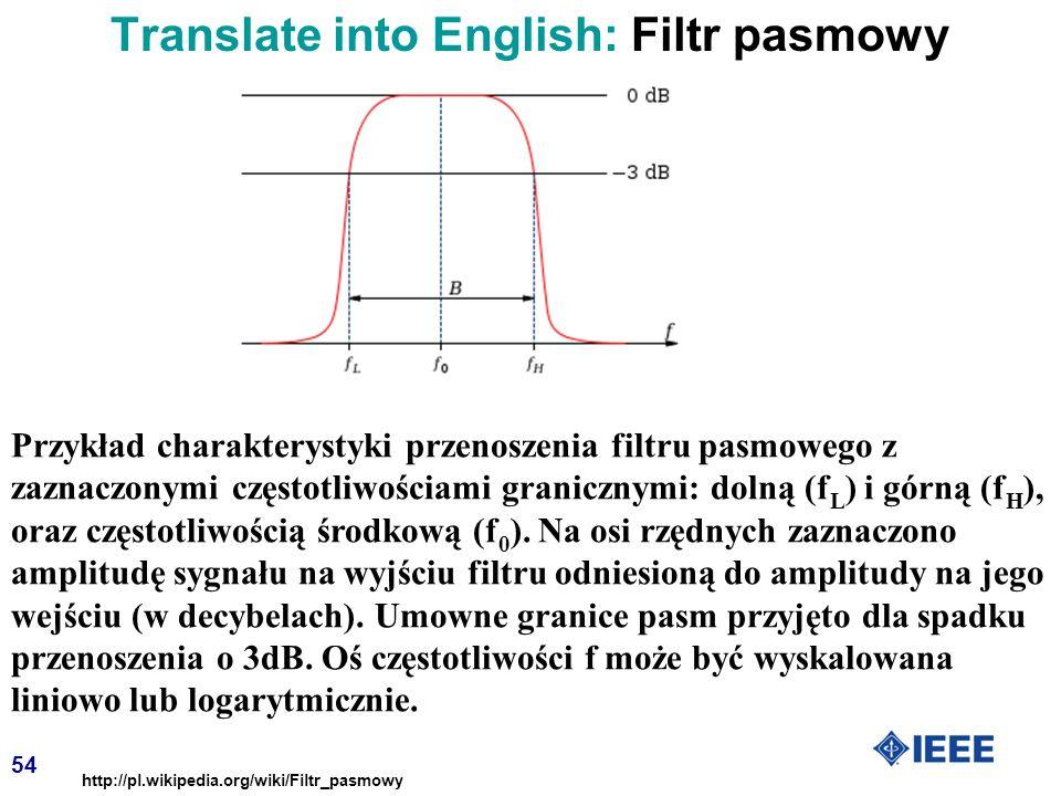 54 Przykład charakterystyki przenoszenia filtru pasmowego z zaznaczonymi częstotliwościami granicznymi: dolną (f L ) i górną (f H ), oraz częstotliwością środkową (f 0 ).
