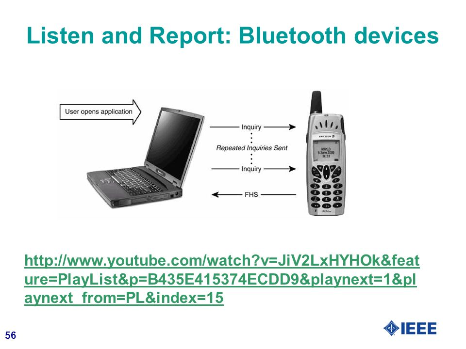 56 Listen and Report: Bluetooth devices http://www.youtube.com/watch v=JiV2LxHYHOk&feat ure=PlayList&p=B435E415374ECDD9&playnext=1&pl aynext_from=PL&index=15
