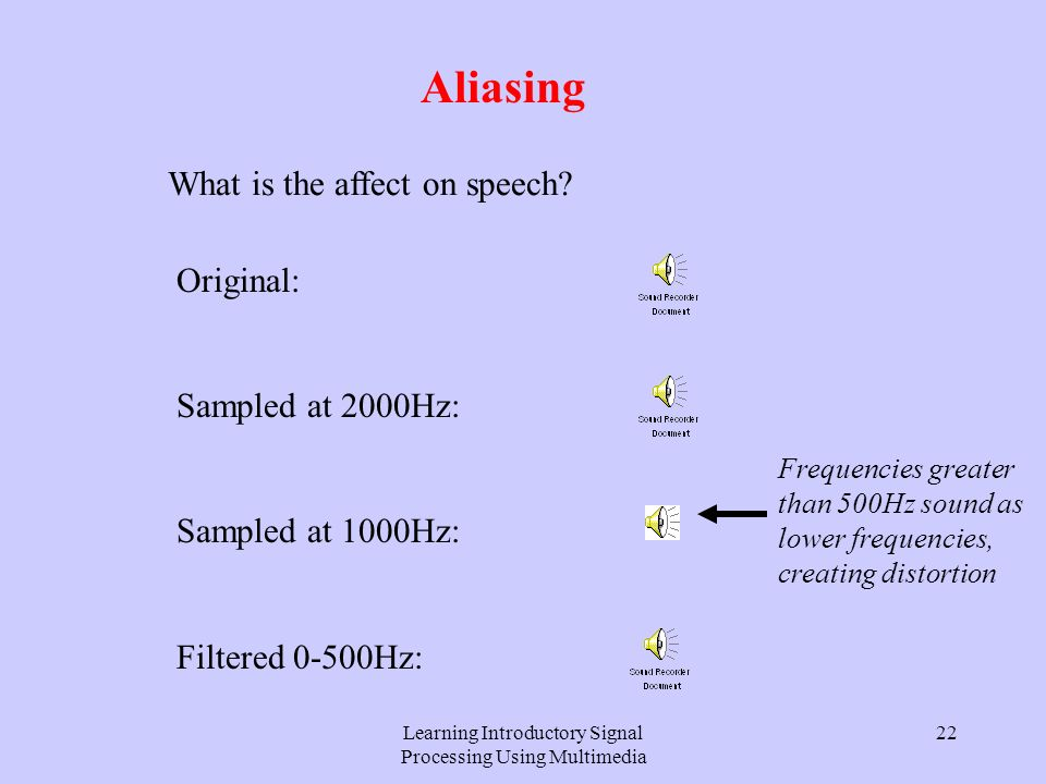 Learning Introductory Signal Processing Using Multimedia 21 Aliasing Their estimates are plotted against sampling frequency: 1000Hz2000Hz Sampling frequency Estimated frequency 1000Hz normal aliased