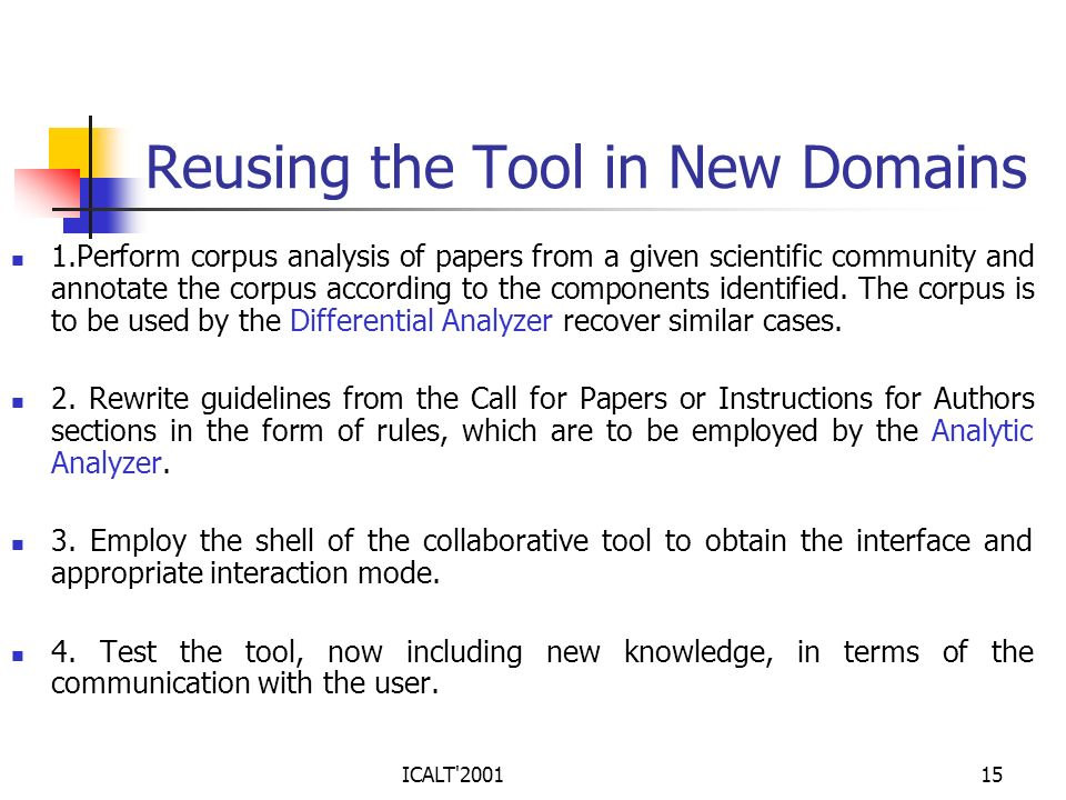 ICALT'200115 Reusing the Tool in New Domains 1.Perform corpus analysis of papers from a given scientific community and annotate the corpus according t