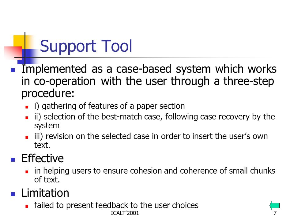 ICALT'20017 Support Tool Implemented as a case-based system which works in co-operation with the user through a three-step procedure: i) gathering of