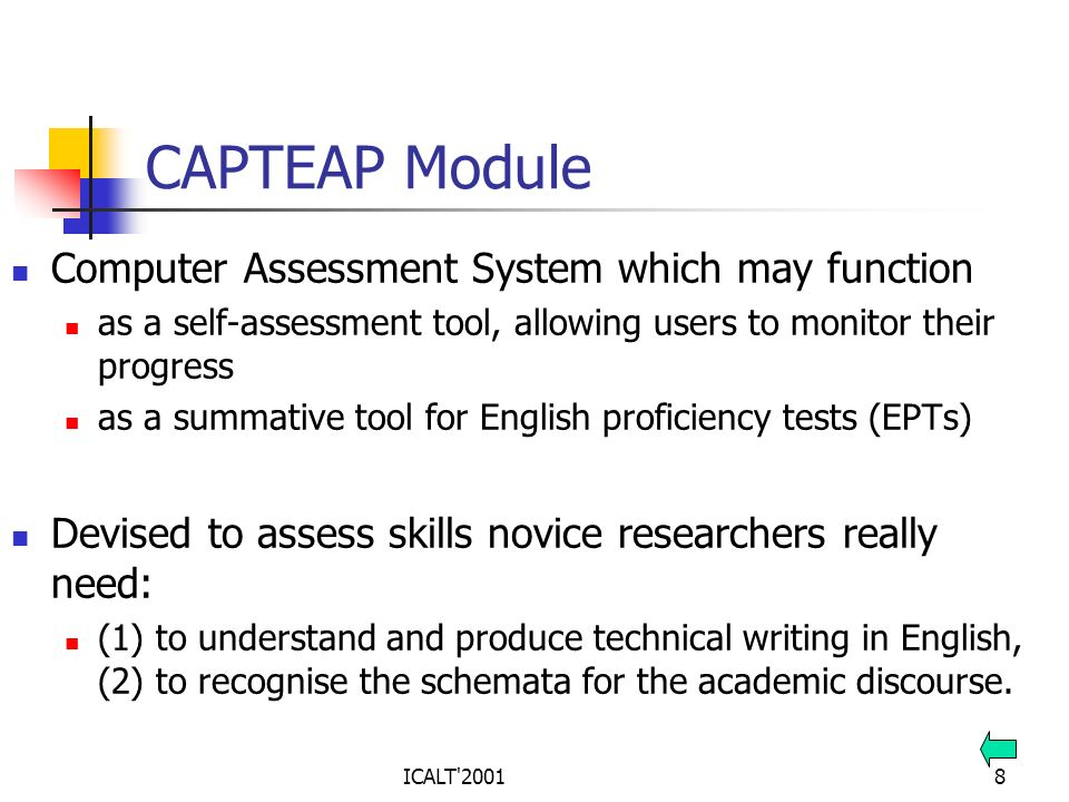 ICALT'20018 CAPTEAP Module Computer Assessment System which may function as a self-assessment tool, allowing users to monitor their progress as a summ
