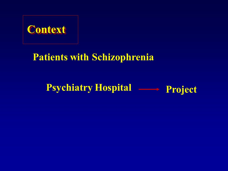 ContextContext Patients with Schizophrenia Psychiatry Hospital Project