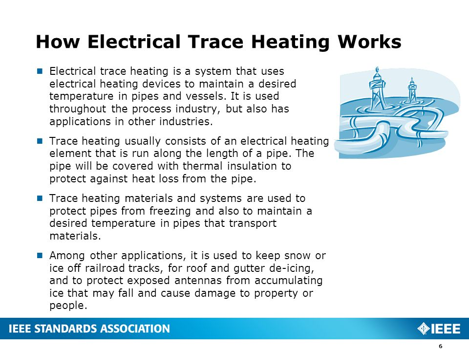 Electrical trace heating is a system that uses electrical heating devices to maintain a desired temperature in pipes and vessels. It is used throughou