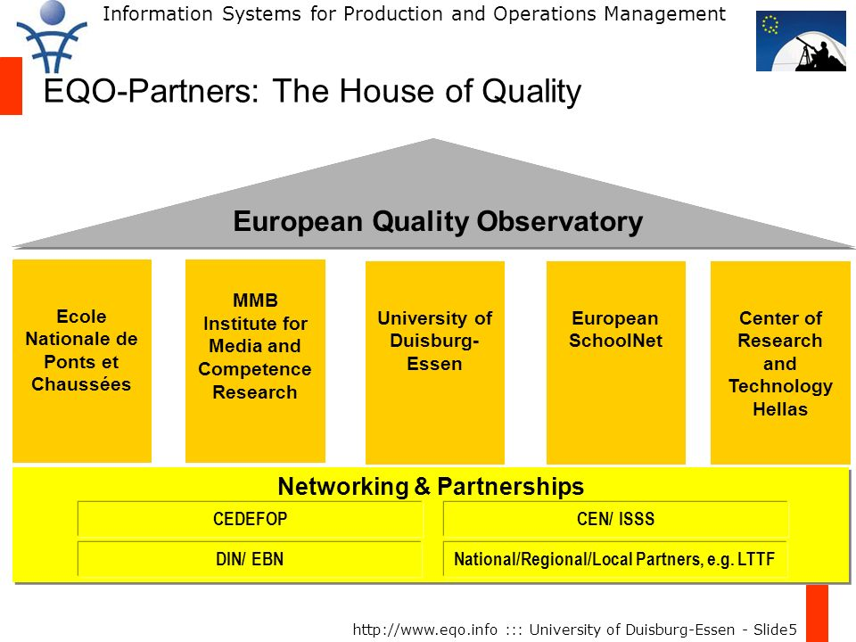 Information Systems for Production and Operations Management http://www.eqo.info ::: University of Duisburg-Essen - Slide6 EQO: Scope & Objectives To facilitate a common understanding of quality from different perspectives (e.g.