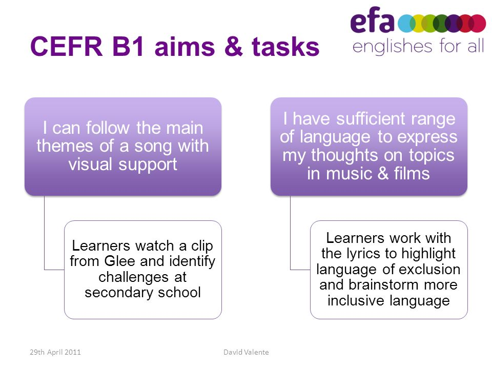 CEFR B1 aims & tasks I can follow the main themes of a song with visual support Learners watch a clip from Glee and identify challenges at secondary s
