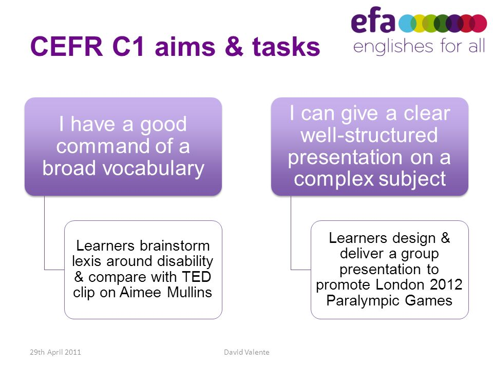 CEFR C1 aims & tasks I have a good command of a broad vocabulary Learners brainstorm lexis around disability & compare with TED clip on Aimee Mullins