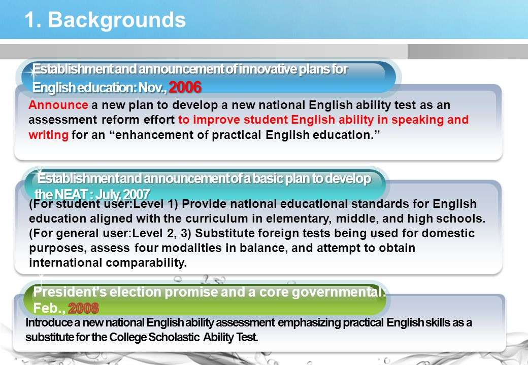 Announce a new plan to develop a new national English ability test as an assessment reform effort to improve student English ability in speaking and writing for an enhancement of practical English education.
