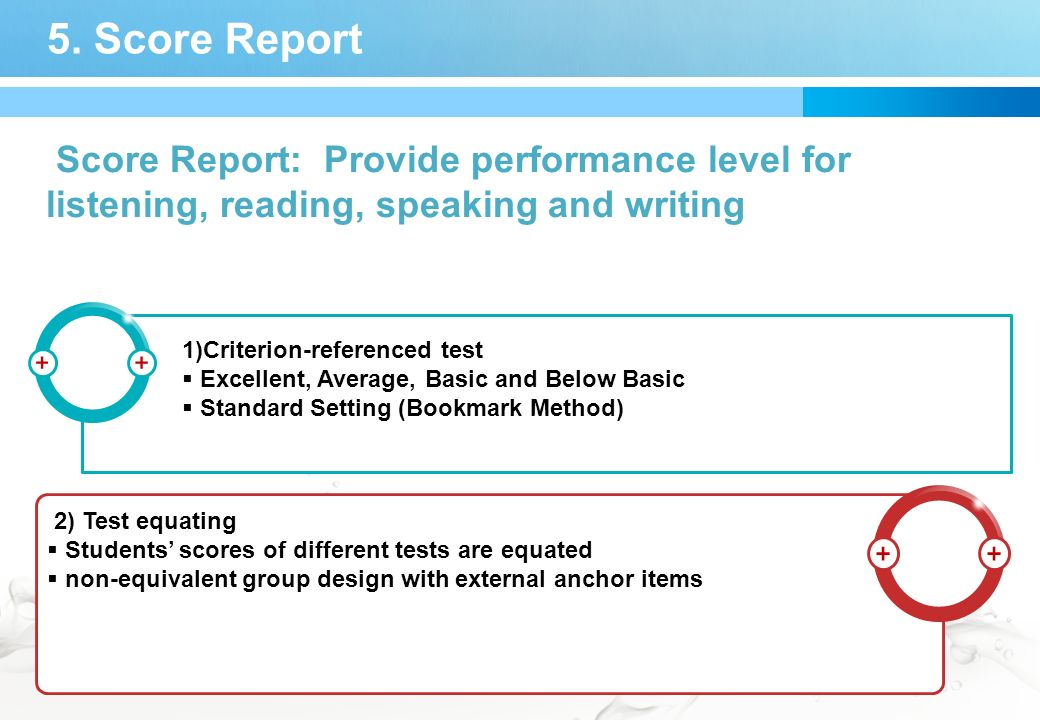 5. Score Report Score Report: Provide performance level for listening, reading, speaking and writing 1)Criterion-referenced test Excellent, Average, B